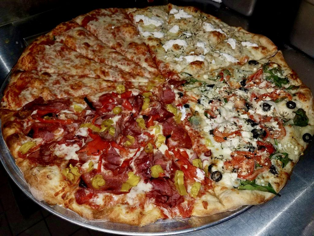 The Hellu0027s Kitchen Pizza: 12lbs Of Ridiculously Delicious Fun. Each  Quadrant Is One Of Our Specialty Pies: 1/4 Godfather, 1/4 Greek, 1/4 White  Garlic, ...